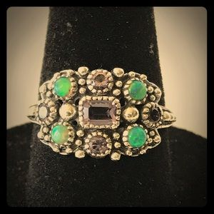 Amethyst And Green Opal .925 Ring Sz 7